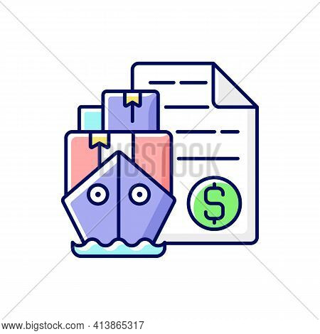Shipping And Freight Broker Rgb Color Icon. Comission Cargo Delivery. Financial Deal For Exporting A
