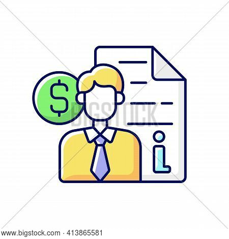 Broker Consultation Rgb Color Icon. Intermediary And Brokerage Services. Cost Of Purchasing Informat