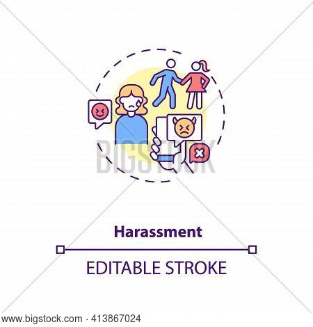 Online Dating Harassments Concept Icon. Aggression In Internet App Ideas Thin Line Illustration. Par