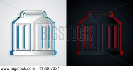 Paper Cut Granary Icon Isolated On Grey And Black Background. Silo With Grain, Elevator, Granary, Fa