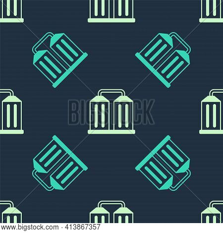 Green And Beige Granary Icon Isolated Seamless Pattern On Blue Background. Silo With Grain, Elevator