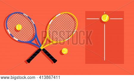 Tennis Ball And Tennis Racket. Sports Equipment For Playing Tennis And Scoreboard. Concept Of Sports