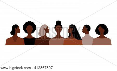 Different Black Women With Different Hairstyles. Crowd Of People. Group Of Beautiful Women With Diff