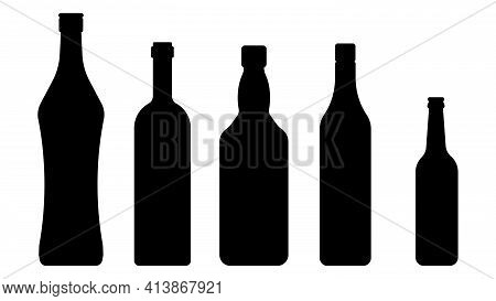 A Set Of Bottles Of Alcohol In Different Shapes And Colors. A Bottle Of Beer, Wine, Whisky, Rum And