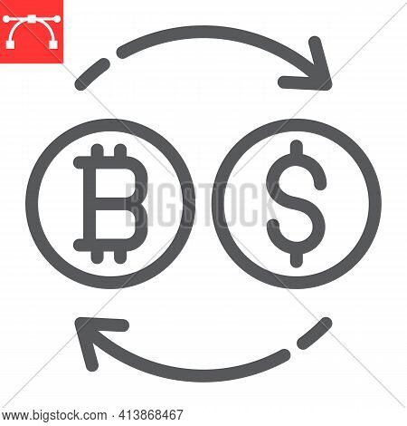 Bitcoin To Dollar Exchange Line Icon, Btc And Usd, Currency Exchange Vector Icon, Vector Graphics, E