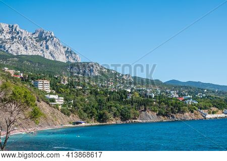 View Of The Sea And Cliffs. Tourism In The Crimea. Summer Photo Of A Sea Landscape. Crimean Mountain