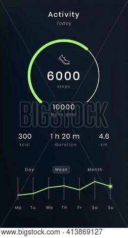 Steps tracking UI screen result health tracking application