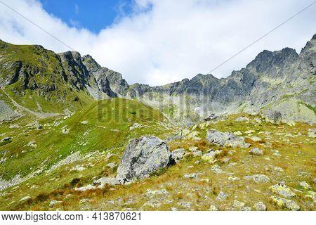 Mountain landscape in Mengusovska Valley, Vysoke Tatry (High Tatras), Slovakia.