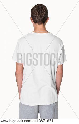 White basic t-shirt for boy teen apparel studio shoot