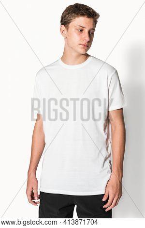 White basic t-shirt for boys teen apparel studio shoot