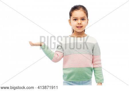 happy smiling girl holding something imaginary
