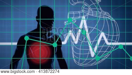 Human body medial against heart rate and human heart icon on blue background. medical research and technology concept