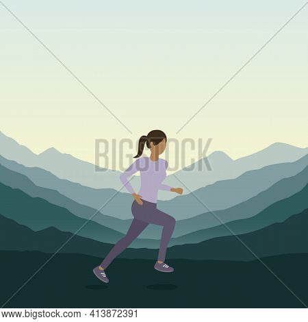 Jogging Sporty Girl On Green Mountain Landscape