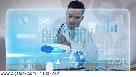 Digital interface with medical data processing against african american male doctor. medical research and technology concept