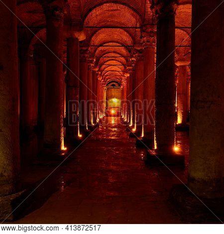 Colonnade in The Basilica Cistern (Yerebatan Sarnici) in Istanbul, Turkey. Ancient architecture,  landmark
