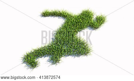 Concept or conceptual green summer lawn grass symbol shape isolated on white background, sign of a runner. A 3d illustration metaphor for athlete, sprinter, marathon, competition, exercise and  health