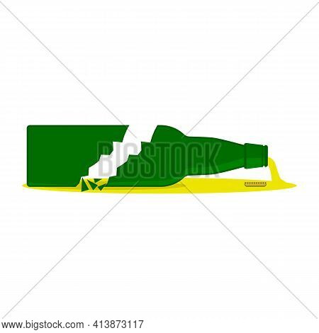 Broken Beer Bottle With Splinters And Puddle. Isolated Vector Cartoon Clipart On White Blank Backgro