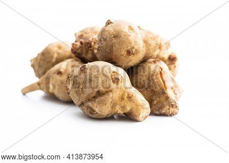 Raw jerusalem artichoke. Topinambur vegetable root isolated on white background.
