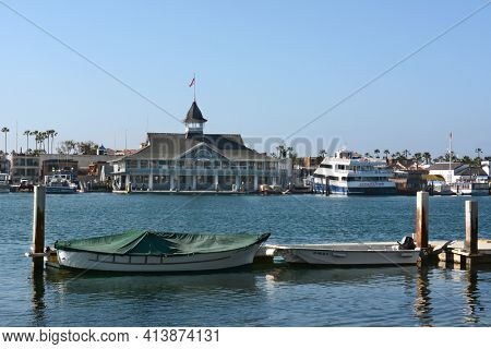 NEWPORT BEACH, CA - FEBRUARY 10, 2015: The Balboa Pavilion, Newport Beach, CA. The Balboa Pavilion is Newport's most famous landmark and oldest standing building.