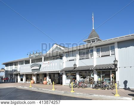 NEWPORT BEACH, CALIFORNIA - JANUARY 6, 2017: The Balboa Pavilion in Newport Beach, Orange County, California, is a California Historical Landmark and a National Historic Place.