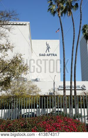 LOS ANGELES - MARCH 28, 2018: The SAG-AFTRA building. The labor union represents about 160,000 film and television actors, journalists, radio personalities, and other media professionals