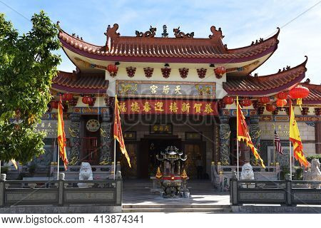 LOS ANGELES, CALIFORNIA - 05 FEB 2020: Thien Hau Temple is a temple dedicated to the Chinese sea goddess Mazu, the deified form of the medieval Hokkien girl Lin Moniang.