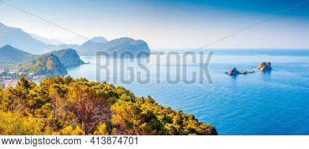Picturesque summer view of the seascape Adriatic Sea on a sunny day. Location Montenegro, Balkans, Europe. Summer trip to exotic places. Perfect photo wallpaper. Discover the beauty of earth.