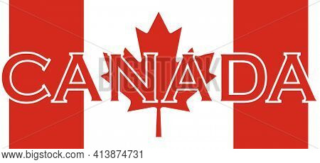 Canada Spelled Out Over Red Stripes and Maple Leaf with Clipping Path on White Background