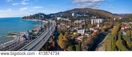 Aerial panorama of the town of Khosta and the highway linking cities Sochi and Adler, Russia