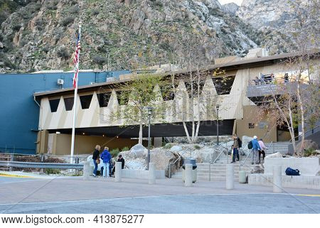 PALM SPRINGS, CA - FEBRUARY 24, 2015: Palm Springs Aerial Tramway Valley Station. Since 1963 nearly 18 million people have traveled the 10-minute, 2.5-mile ride to the Mountain Station.