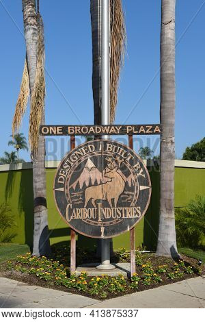 SANTA ANA, CALIFORNIA - 23 SEPT 2020: One Broadway Plaza Sign, the proposed site of a 37 story office and residential tower.