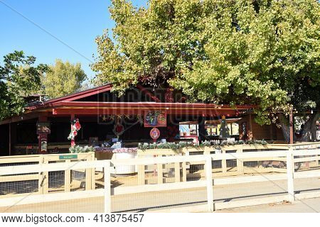 SAN JUAN CAPISTRANO, CALIFORNIA - 1 DEC 2017:  Zoomars Petting Zoo in the Los Rios Historic District of town.