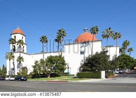 San Juan Capistrano, Ca - December 1, 2017: Mission Basilica. The parish church is located just northwest of Mission San Juan Capistrano.