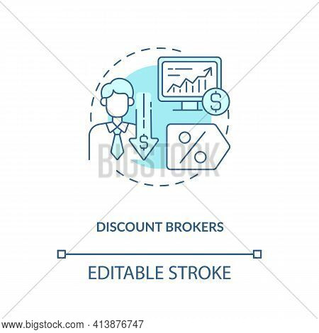 Discount Brokers Concept Icon. Broker Type Idea Thin Line Illustration. Online Brokerage. Reduced Co