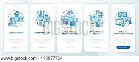 Stocks Kinds Onboarding Mobile App Page Screen With Concepts. Common, Preferred, Industrial Type Wal