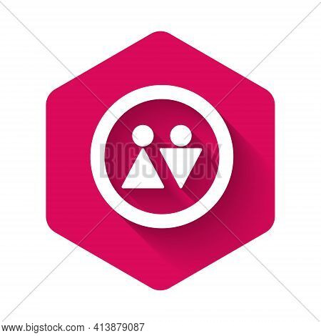 White Toilet Icon Isolated With Long Shadow Background. Wc Sign. Washroom. Pink Hexagon Button. Vect