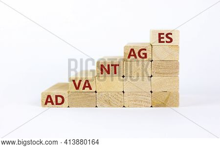 Advantages Symbol. Wooden Blocks Stacking As Step Stair On White Background, Copy Space. Word 'advan