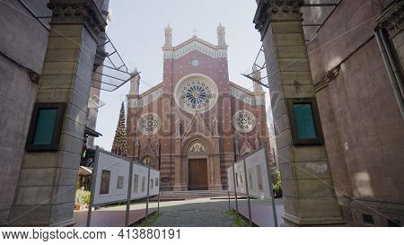 Facade Of Catholic Church In Istanbul. Action. Catholic Church With Gothic Elements And Fabulous Ext