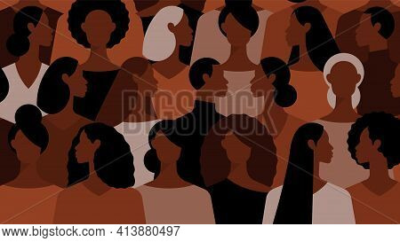 Black Women. Black Lives Matter. Crowd Of People. Group Of Beautiful Women With Different Hairstyle