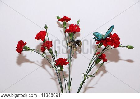 A Bouquet Of Red Carnations As A Gift To Your Beloved Woman On A White Background. Designer Bouquet
