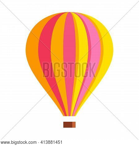 Aerostat With Basket. Abstract Hot Air Balloon Isolated On White. Vector Element, Flat Style.