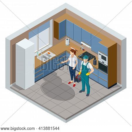 Isometric Repairman Or Mechanic With A Toolbox. Man Working, Holds Toolbox With Instrument. Professi