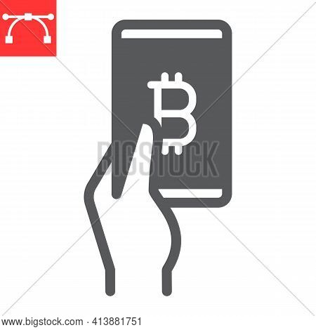 Bitcoin Mobile Pay Glyph Icon, Payment And Pay With Bitcoin, Hand Holding Smartphone Vector Icon, Ve