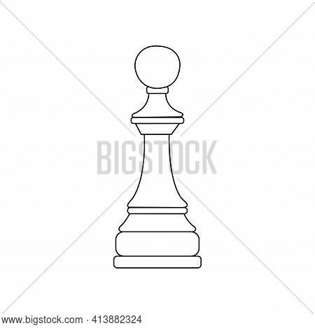 Chess Piece Pawn. Vector Black And White Isolated Outline Linear Illustration Chessman Icon
