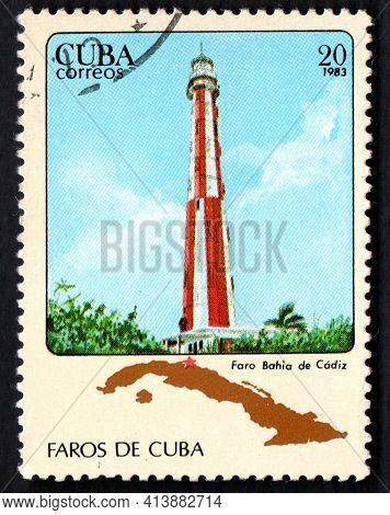 Cuba - Circa 1983: Cuban Lighthouse On Postage Stamp. Lighthouses Of Cuba. Liberty Island. Old Light