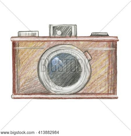 Hand Painted Vintage Photo Camera Isolated On White. Professional Photographic Equipment In Retro St