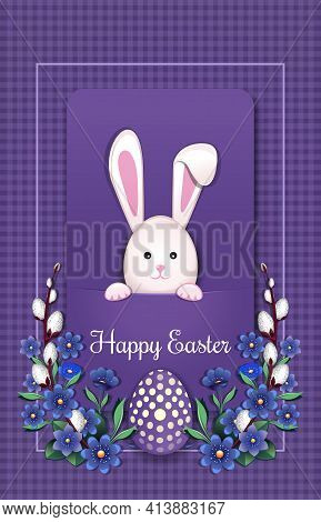 Happy Easter. Greeting Card With Easter Bunny And Easter Egg. Easter Card With Rabbit. Vector Illust