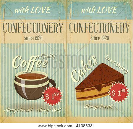 Vintage Two Cards Cafe Confectionery  Dessert  Menu