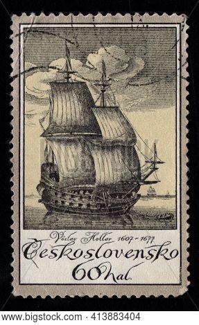 Czechoslovakia - Circa 1984: Czechoslovak Postage Stamp Dedicated To Old Sailing Ship. Sailboat Depi