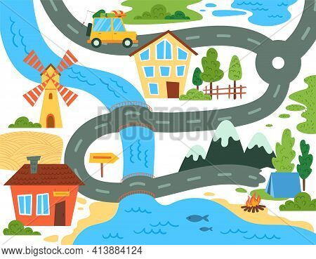 Brightly Colored Map For Kids Showing A Family Camping Trip With Winding Road And Car Crossing A Riv